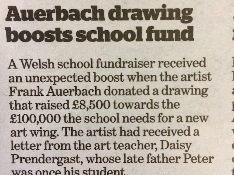 Auerbach and Prendergast works help raise in excess of £24,000 at School Auction!