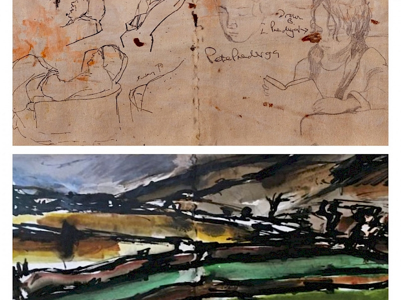 November 2019, Drawings found on the reverse of Prendergast painting